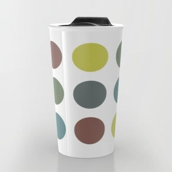 Retro Polka Dots Travel Mug by ARTbyJWP