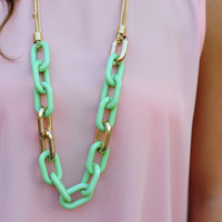 Links Of Love Necklace: Seafoam Green | Hope's