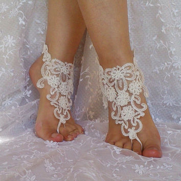 free ship ivory embroidered with pearls lace sandals, bridal lace anklet sandals ivory beach wedding barefoot sandals ivory lace sandals