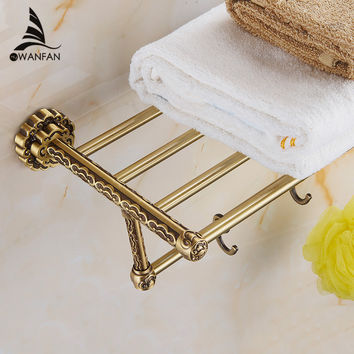 Shipping Solid Brass Vintage Style Bathroom Towel Rack Antique Bronze Towel Shelf Holder Carved Pattern Wall-Mount 10712F