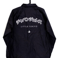 Japangeles katakana coach jacket in black
