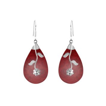 AE-1047-CR Sterling Silver Teardrop Shape Earring With Coral
