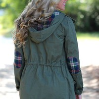 Take Me There Plaid Jacket: Olive