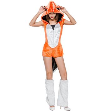 New Siamese Orange Long Fur Fox Costume Halloween Cosplay Animal Outfit Export Uniform Set Stage Performance Jumpsuits L188175
