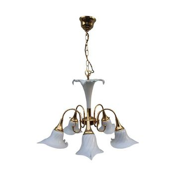 Pre-owned Murano Glass & Brass 1980s Chandelier