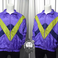 Vintage 80's Purple Windbreaker Jacket Tricolour Jacket Hipster Jacket 90s Windbreaker Nike Jacket Adidas Purple Bomber Jacket Oversized Fit
