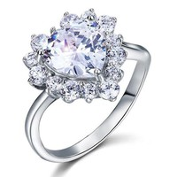 2.5 Carat Heart Simulated Diamond Sterling Silver Wedding Promise Engagement Ring