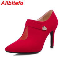 Plus size EU 33-43,fashion sexy PU leather women pumps  new spring ladies high heel shoes woman wedding party red pumps