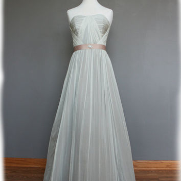 Strapless Vintage Style Silk Chiffon Dress with Ribbon by AvailCo