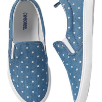 Chambray & White Dot Basics Slip-On Sneaker - Girls
