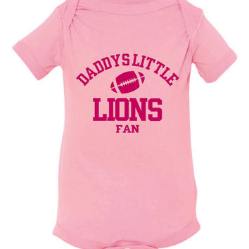 DADDYS LITTLE LIONS Fan Girls Pink Toddler Shirt Or Creeper Detriot Lions Fan Football Tshirt