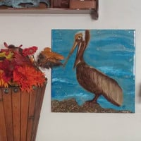 """Pelican - Alcohol Ink on Ceramic 13"""" x 13"""" Tile"""