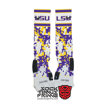 Custom Nike Elite Socks - LSU Custom Nike Elites - LSU Tigers Socks, Custom Elites, LSU Socks, Louisiana State, Lsu Football