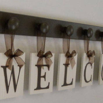 WELCOME Sign Personalized Hanging Letters Includes 7 Wood Knob Display Painted Chocolate Brown. Home Entryway Decor