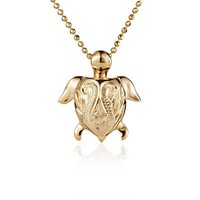 Small Hawaiian Scroll Turtle Pendant in Yellow Gold over Sterling Silver
