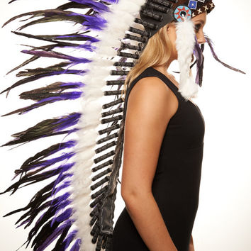 Native American Inspired Extra Large Purple Indian Headdress Hand Made War Bonnet Real Feathers XH002, 43in
