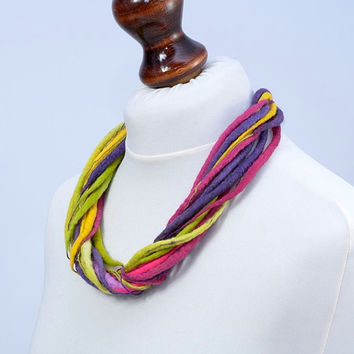 Linen and felt, twist, rope, multi strand, wool necklace [N28]