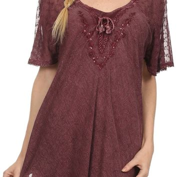 Sakkas Ellie Sequin Embroidered Cap Sleeve Scoop Neck Relaxed Fit Blouse
