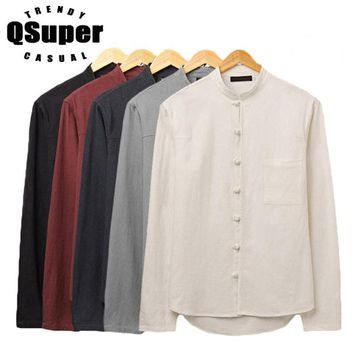 QSuper New Men Linen Shirts Long Sleeve Chinese Style Pocket Mandarin Collar Traditional Kung Fu Tang Casual Social Shirt Brand