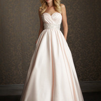 Blossom & Silver Satin Sweetheart Embellished Empire Waist Wedding Gown - Unique Vintage - Cocktail, Evening, Pinup Dresses