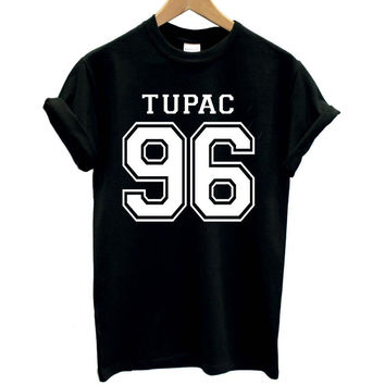 TUPAC 96 west coast 2 pac print Women tshirts Cotton Casual Funny T Shirt For Lady Top Tee Hipster black white Drop Ship Z-286