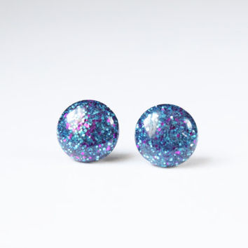 Blue and Pink Glitter Earrings, Stud Earrings, Hypoallergenic Jewelry, Gifts For Her