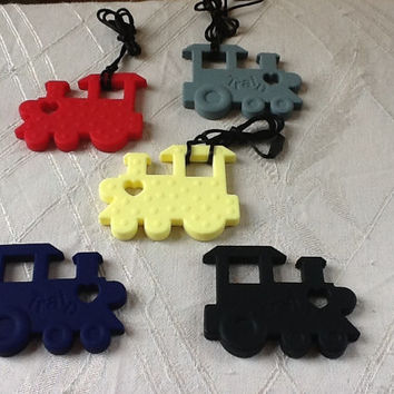 Train textured silicone chewable textured pendant or necklace great for teething, autism, anxiety, ADHD, add, apraxia