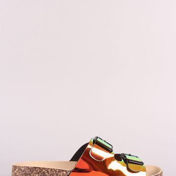 Holographic Double Buckled Slide Footbed Sandals