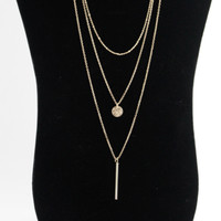 Circle & Bar Layer Necklace-Gold
