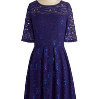 ModCloth Mid-length Short Sleeves A-line Indigo All Out Dress