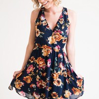 Blossoms On Blue Sundress