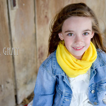 NEW--Kid's Infinity Scarf - Neon Yellow Solid Knit Fabric - Circle Scarf