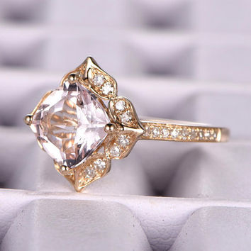 7mm Cushion Morganite Engagement ring Yellow gold,Diamond wedding band,Promise Ring,Bridal Ring,Retro Vintage Floral,Custom made setting