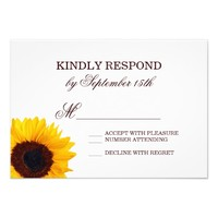 Country Sunflower White Wedding RSVP Cards