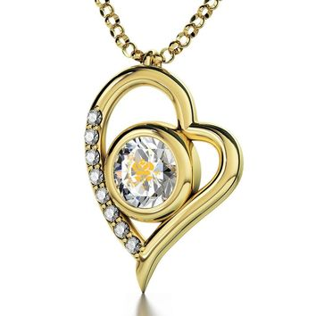 """Take My Love"", 14k Gold Diamonds Necklace, Swarovski"