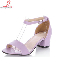 Big Size 34-43 Fashion Thick Med Heels Platform Sandal Shoes
