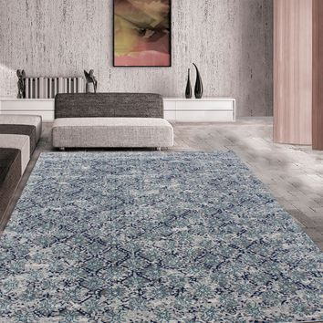 """Turquoise with Silver Modern 100% Polypropylene Area Rug - Exact Size 5'4"""" X 7'5"""""""