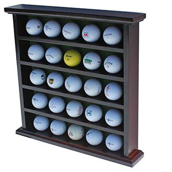DisplayGifts Golf Ball Display Case Wall Rack Cabinet, NO Door, GB25 (Mahogany Finish)