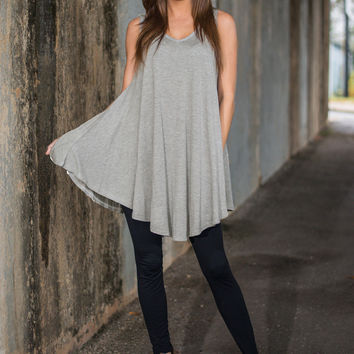Gray Loose Sleeveless V-Neck Dress