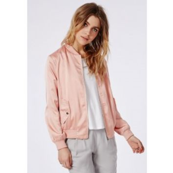 Missguided - Silky Bomber Jacket Salmon Pink