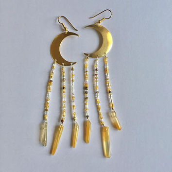 Moon Beam Earrings Brass Crescent Yellow Quartz Crystal Vintage Beaded Long Dangle Chandelier Jewelry