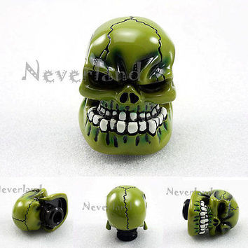 New Universal Manual Transmission Car Gear Stick Shifter Knob Lever Cover Resin Skull Green Head Free shipping D05
