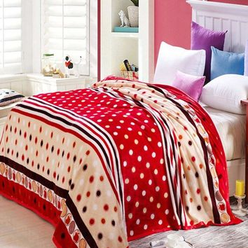 Polka Dot Print Super Soft Sofa Nap Bedding Throw Blanket