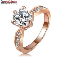 Wedding Jewelry Ring Platinum Plated Round Cubic Zirconia Women Finger Ring