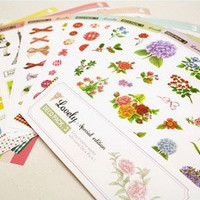 Korean Deco Clear & Paper Adhesive Sticker sticky Decorative Set - 16 sheet Style 3