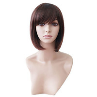 Capless Short Brown Wavy High Quality Synthetic Japanese Kanekalon Wigs #00488172