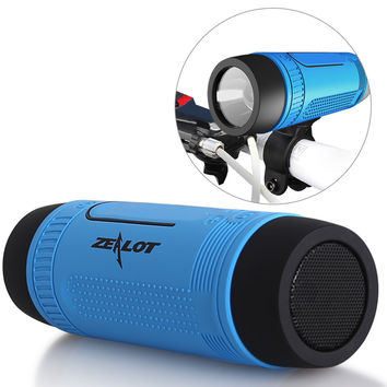Zealot S1 CSR4.0  Bike Biylcle Riding Hiking Bluetooth Stereo Mini Speaker Super Bass LED Light FM Radio Power Bank ALL IN 1