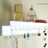 Jewelry Organizer - Earring and Necklace Holder; White Necklace Display Shelf; Other colors available too!