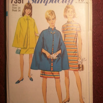 Uncut 1960's Simplicity Sewing Pattern, 7391! Size 14 Bust 34 Medium/Women's/Misses/Short Sleeve Dress/Stand up Collar Dress/Lined Cape