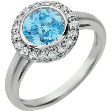 Sterling Silver Light Blue December CZ Bezel Set Halo Ring